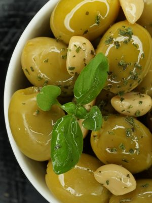 Acropolis Halkidiki Green Olives Marinated with Basil & Garlic (Pitted)