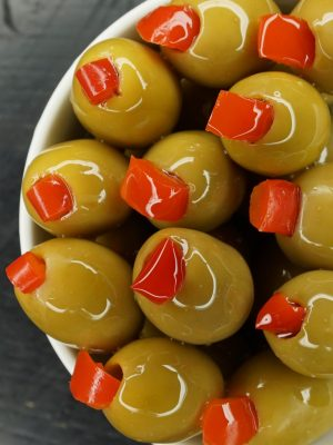 Acropolis Halkidiki Green Olives Stuffed with Sweet Red Pepper (Pitted)